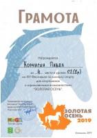 """Фестиваль по конному спорту """"Золотая Осень"""" 2019 г."""